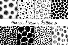 Uppsättning av åtta sömlösa texturer Modeller med sfärer, runda och ovala beståndsdelar och fläckar Abstrakt begreppformer som dr Fotografering för Bildbyråer