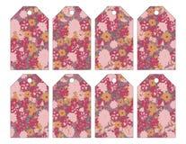 Uppsättning av åtta sjaskiga chic grungy blom- etiketter stock illustrationer