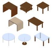 Uppsättning av åtta tabeller isometriskt Arkivfoto