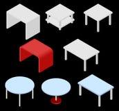 Uppsättning av åtta tabeller isometriskt Fotografering för Bildbyråer
