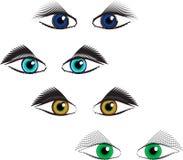 Uppsättning av ögon av olika färger Royaltyfri Foto