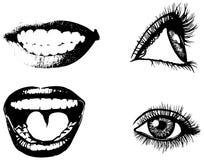 Uppsättning av ögon och munnen Royaltyfri Fotografi