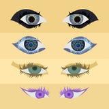 Uppsättning av ögonbeståndsdelen Arkivbilder