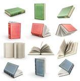 Uppsättning av öppna böcker för flyg royaltyfri illustrationer