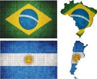 Uppsättning av översikter och flaggor av Argentina och Brasilien Royaltyfri Foto
