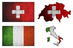 Uppsättning av översikter och flaggor av Italia och Schweiz Fotografering för Bildbyråer