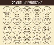 Uppsättning av översiktsemoticons, emoji som isoleras på vit bakgrund Emoticon för webbplatsen, pratstund, sms vektor vektor illustrationer
