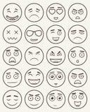 Uppsättning av översiktsemoticons, emoji som isoleras på vit bakgrund Emoticon för webbplatsen, pratstund, sms vektor stock illustrationer
