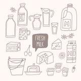 Uppsättning av översiktsmat: mejeriprodukter - mjölka, yoghurten, ost, smör, milkshake Royaltyfri Bild