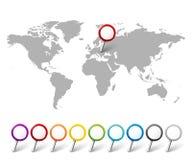 Uppsättning av översiktspekare med världskartan royaltyfri illustrationer