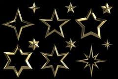 Uppsättning av 12 guld- stjärnor stock illustrationer