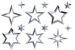 Uppsättning av 12 kromstjärnor vektor illustrationer
