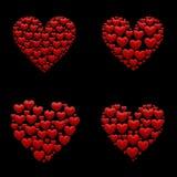Uppsättning av 4 ilustrations för hjärtor 3d Royaltyfria Bilder