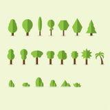 Uppsättning av abstrakt begrepp stiliserade träd naturlig illustration Arkivfoton