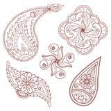 Uppsättning av abstrakt begreppblommor och paisley beståndsdelar vektor illustrationer
