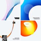 Uppsättning av abstrakt begreppmallar för modern design Idérik affärsbakgrund med färgglade vågor fodrar för befordran, baner royaltyfria foton