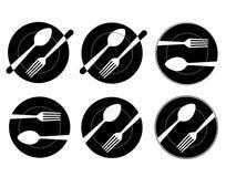 Uppsättning av abstrakt begreppsvartlogoen för en restaurang, ett kök eller ett kafé Passande för utskrift på menyer Arkivbild