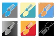 Uppsättning av abstrakt begreppsvartlogoen för en restaurang, ett kök eller ett kafé Passande för utskrift på menyer Square forma Arkivfoto