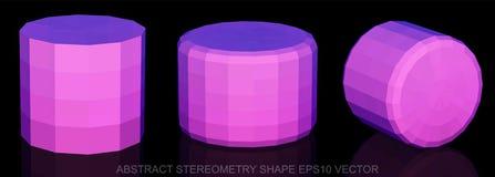 Uppsättning av abstrakt geometriform: Rosa cylinder 3D polygonal objekt, EPS 10, Arkivbilder