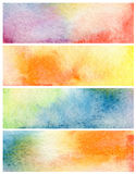 Uppsättning av abstrakt vattenfärg målad bakgrund Papper Arkivbild