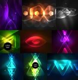 Uppsättning av abstrakta bakgrunder - glödande neon färgar ljusa effekter vektor illustrationer