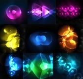 Uppsättning av abstrakta bakgrunder - glödande neon färgar ljusa effekter royaltyfri illustrationer