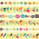 Uppsättning av abstrakta blom- sömlösa borstar stock illustrationer