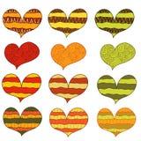 Uppsättning av 12 abstrakta färgrika varma hjärtor med prydnaden stock illustrationer