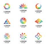 Uppsättning av abstrakta geometriska logoer för affärsföretag Fotografering för Bildbyråer