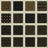 Uppsättning av 16 abstrakta guld- geometriska modeller Fotografering för Bildbyråer