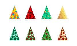 Uppsättning av abstrakta julträd Beståndsdelar för att skapa en design av kort, hälsningar med jul och nytt år vektor vektor illustrationer