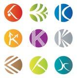 Uppsättning av 9 abstrakta K-bokstavssymboler - dekorativa beståndsdelar Royaltyfria Bilder