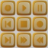 Uppsättning av abstrakta knappar för massmediaspelare 3d Vektor Illustrationer