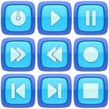 Uppsättning av abstrakta knappar för massmediaspelare 3d Royaltyfri Illustrationer