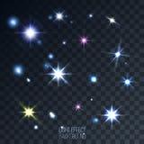 Uppsättning av abstrakta linsstjärnor och signalljus på genomskinlig bakgrund Stock Illustrationer