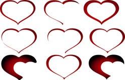 Uppsättning av abstrakta röda Valentine Heart Vector royaltyfri bild
