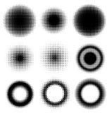 Uppsättning av abstrakta rastrerade designbeståndsdelcirklar Arkivfoto