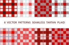 Uppsättning av 8 abstrakta stilfulla geometriska sömlösa modeller med den celtic prydnaden av den röd, svart och för vitskuggaVEK vektor illustrationer