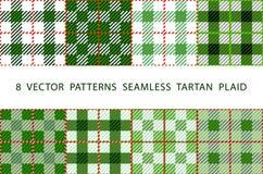 Uppsättning av 8 abstrakta stilfulla geometriska sömlösa modeller med den celtic prydnaden av gräsplan, svart och PLÄDET för TART stock illustrationer