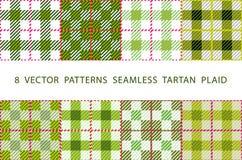 Uppsättning av 8 abstrakta stilfulla geometriska sömlösa modeller med den celtic prydnaden av PLÄDET för TARTAN för VEKTOR för sk royaltyfri illustrationer