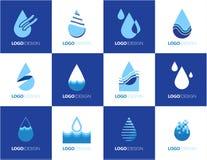 Uppsättning av abstrakta symboler för vektor för blått för vattendroppform Royaltyfri Fotografi