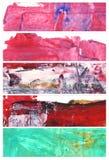 Uppsättning av abstrakta vattenfärgbaner Arkivbild