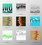 Uppsättning av abstrakta vektorbakgrunder med lampor Arkivfoton