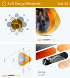 Uppsättning av abstrakta vektordesignbeståndsdelar för grafisk orientering Modern affärsbakgrundsmall arkivfoton
