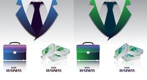 Uppsättning av affär färgade bakgrunder med portföljer och packe av pengar Arkivfoto