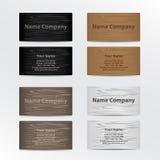 Uppsättning av affärskort med Wood textur Arkivbilder