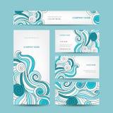 Uppsättning av affärskortdesignen med havsvågen Royaltyfria Foton