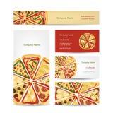 Uppsättning av affärskortdesignen med pizzaskivor Royaltyfri Fotografi