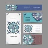 Uppsättning av affärskortdesignen, turkisk prydnad Royaltyfri Bild