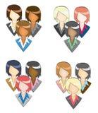 Uppsättning av affärskvinnasymbolen i gruppen (med blyerts linje Royaltyfri Fotografi